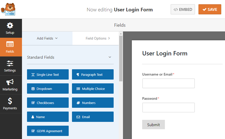 Custom Login Structure with WPForms Module