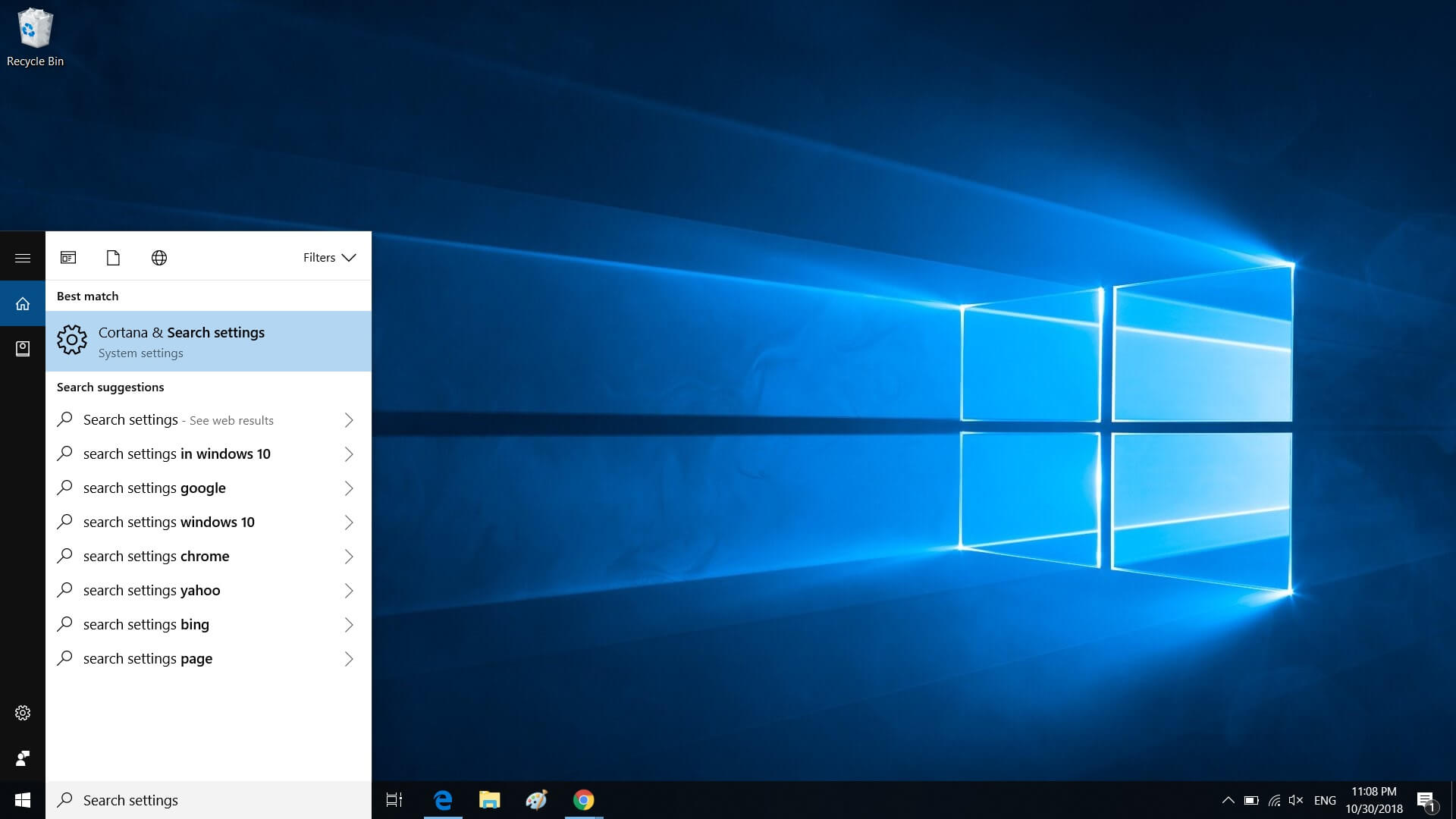 Windows 10 Search Settings