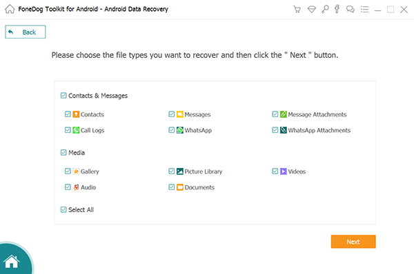 Select Data Types to Recover on Android Device